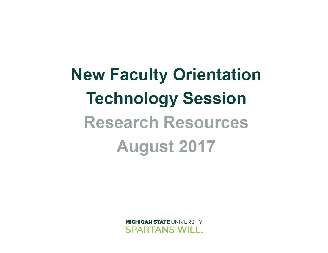 Technology Orientation - Research Resources